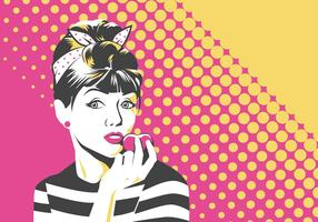 Mulher Pop Art Vector Illustration