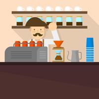 Flacher Barista in der Kaffeestube Hintergrund-Vektor-Illustration