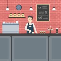 vettore di barista piatta