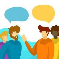Pessoas planas falando de trabalho em equipe com ilustração vetorial de fundo minimalista