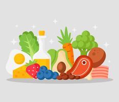 Vetor de alimentos de dieta cetogênica