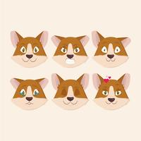 Vector Dog Emotions Illustration