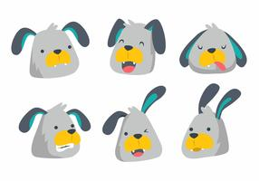 Cute Dog Head Emotion Vector Illustration