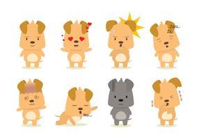 Vetor de várias emoções cão definido