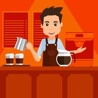 Cartoon Barista Vector