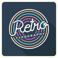 Flache Retro Typografie mit Weinlese-Hintergrund-Vektor-Illustration