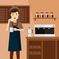 Barista Man Vector