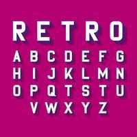Alfabeto estilizado de fuente retro