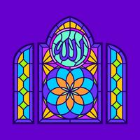 Allah Stained Glass Window Vector
