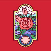 Rose Stained Glass Window Vector