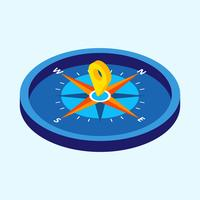 Compass with Isometric Style Vector Illustration