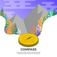 Flat Compass With Landscape Background Vector Illustration