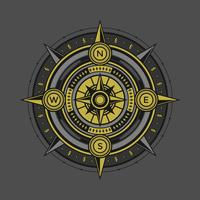 Black And Gold Compass Vector