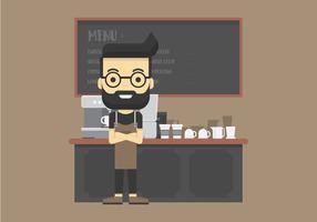 Cool Barista Making Coffee and Using Coffee Maker Inside Cafe Illustration vector