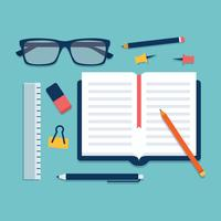 Vector plano de útiles escolares