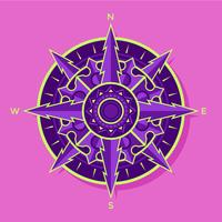 Flat Purple-Green Compass Vector