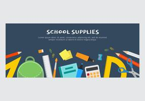 School Supplies Vector Banner