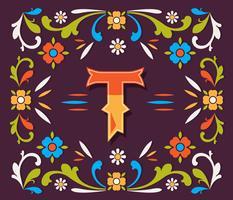 Letter T Typograph Fileteado Vector