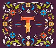 Letter T Typograph Fileteado Vector