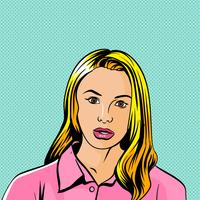 Mujer Pop Art Blonde Shocked Vector