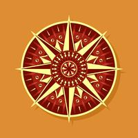 Red Yellow Compass Vector
