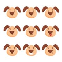 Cute Dog Emotions Vector