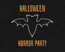 Stijlvolle unieke vleermuis. Happy Halloween-nachtkaart. Achtergrond, poster en banner. Vlak donker ontwerp met gestructureerde achtergrond voor viering Halloween. Vector