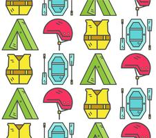 Rafting equipment seamless pattern. Outdoors style, thin line color design. Stylish elements for web, mobile applications, banners, flyers, posters, brochures. Vector