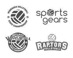 Set di etichette, distintivi, logo e icone di pallavolo. Insegne sportive. Ideale per volley club, campionato, negozi sportivi, siti o riviste. Usalo come stampa su tshirt. Vettore