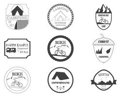 Set of retro badges and label logo graphics. Camping badges and travel logo emblems. Mountain bike, rv park, motorhome and forest campsite theme. Vector. vector