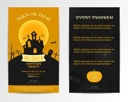 Convite de cartão de dia das bruxas. Ilustração vetorial. Design minimalista e plano escuro, laranja. Estilo de festa de fantasia. Pode ser usado para design de capa cartaz, folheto, brochura