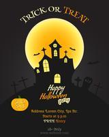 Affiche fête joyeux Halloween, flyer, bannière. Carte de fête. Tromper ou traiter le texte. Avec citrouille, chauve-souris lune et autres éléments d'halloween. Vecteur