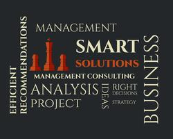 Modello di logo soluzioni intelligenti con gestione Consulenza concetto di parole chiave. Concetto dell'illustrazione della priorità bassa di affari. Idee e realizzazione del progetto.