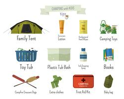 Camping with kids. Tips. Set of flat adventure traveling elements and symbols with text signs. Summer Outdoor design. Campsite and campground. Vector