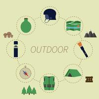 Infografía al aire libre. Estilo de vida de camping. Diseño redondo inusual en fondo verde. Elementos de verano
