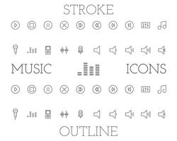 Music outline and stroke icons set, simple thin line design. Isolated on white background. Vector