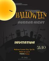 Cartel fiesta de halloween feliz, flyer, banner. Tarjeta de estilo noche de terror. Truco o trato. Con zombies, murciélagos de la luna y otros elementos de halloween. Vector