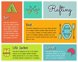 Flat design vector infographics of kayaking, canoe equipment with text, icons, emblems. Cute drawing style for web, mobile app, long shadow. Outdoor adventure and travel theme.
