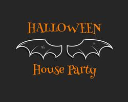 Stijlvolle unieke vleermuisachtergrond. Gelukkige Halloween-kaart van de huispartij. Poster en banner. Vlak donker ontwerp voor viering Halloween. Vector