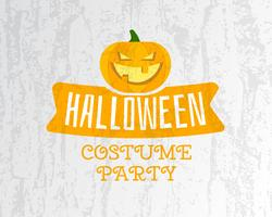 Happy Halloween costume party flyer template - orange and white colors with pumpkin, ribbon and texts on bright textured background. Stylish design for celebration Halloween. Vector