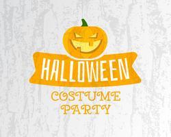 Modèle de flyer fête Halloween costume heureux - couleurs orange et blanches avec citrouille, ruban et textes sur fond texturé clair. Design élégant pour la fête d'Halloween. Vecteur