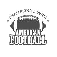 American football kampioenen league badge, logo, label, insignes in retro kleurstijl. Grafisch vintage ontwerp voor t-shirt, web. Zwart-wit afdrukken geïsoleerd op een donkere achtergrond. Vector