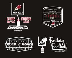 Insignia de equipo de fútbol americano y portería, logotipo de pub deportivo, etiqueta, insignia en estilo de color retro. Diseño gráfico vintage para camiseta, web. Impresión colorida aislada en un fondo oscuro. Vector