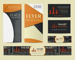 Set di identità del marchio aziendale di soluzioni intelligenti. Flyer, brochure, biglietti da visita. Ideale per società di consulenza manageriale ecc. Design geometrico unico. Vettore