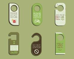 Organic farm, shop and other eco business Door knob or hanger sign set- do not disturb design. With Eco and bio logo template. Vector