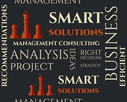 Modello senza soluzione di soluzioni intelligenti con la gestione Consulenza concetto di parole chiave. Concetto dell'illustrazione della priorità bassa di affari. Idee e realizzazione del progetto.
