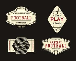 Distintivo geométrico da equipe ou da liga do campo de futebol americano, logotipo do local do esporte, etiqueta, grupo das insígnias. Design gráfico vintage para t-shirt, web. Cópia colorida isolada em um fundo escuro. Vetor