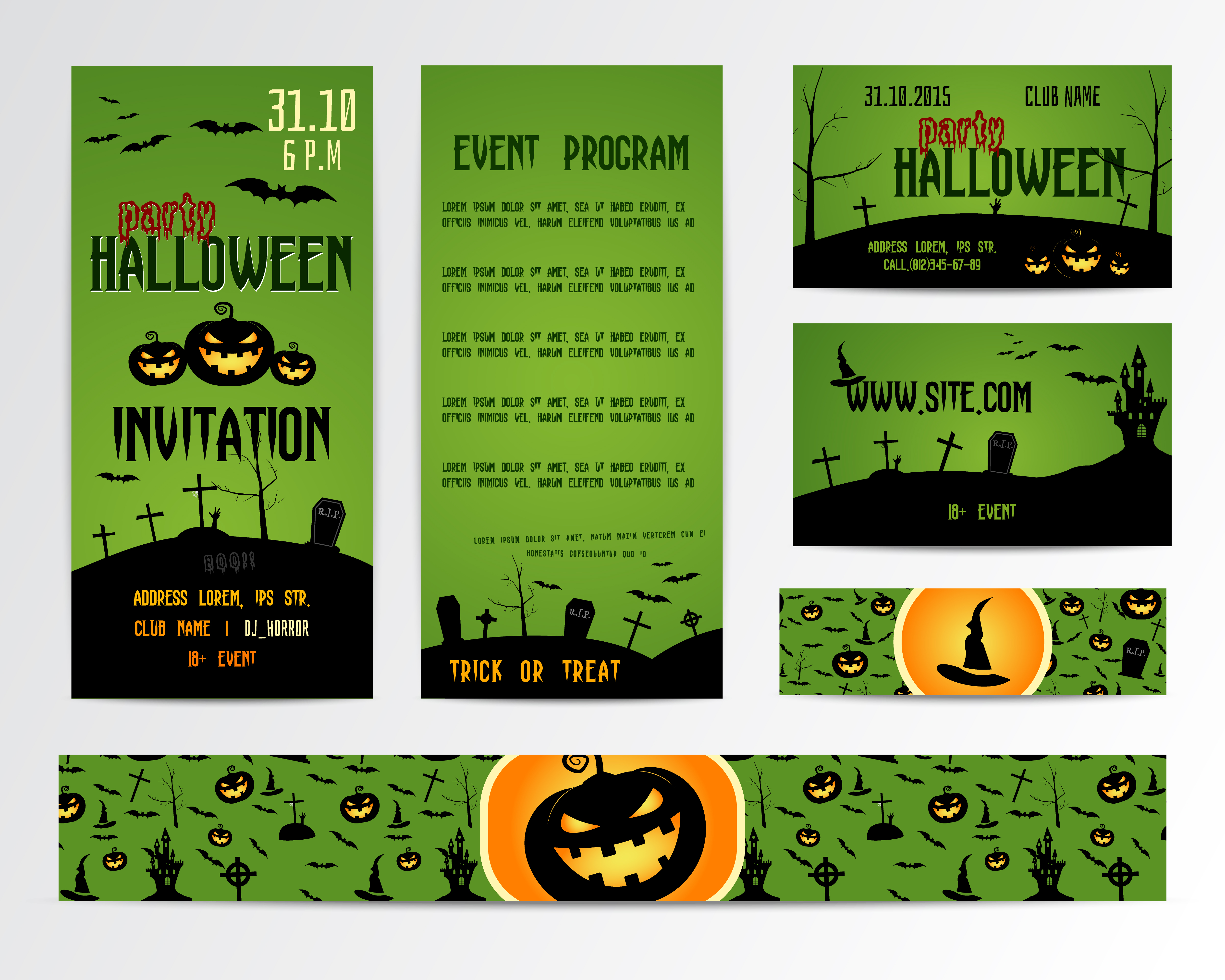 Set of happy halloween greeting cards flyer banner vector set of happy halloween greeting cards flyer banner vector illustration party invitation design with emblem typographic template halloween label cover stopboris Gallery