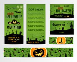 Set Of Happy Halloween Greeting Cards, Flyer, banner. Vector Illustration. Party Invitation Design with Emblem. Typographic Template. halloween label Cover Design. Horror night.