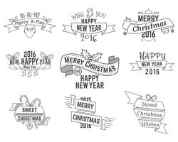 Christmas, New Year and Winter wishes ribbons collection with holiday symbols, elements for web, inspiration presentation, app etc. Stylish monochrome design. Vector